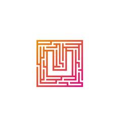 u maze letter logo icon design vector image