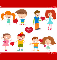 Valentines day cards set cartoon vector