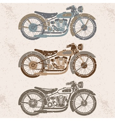 vintage grunge motorcycle set graphic design vector image