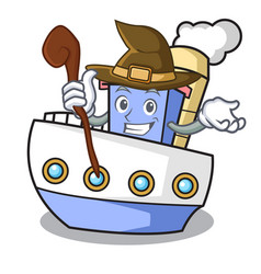 witch ship mascot cartoon style vector image