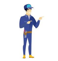 young asian mechanic pointing to the side vector image