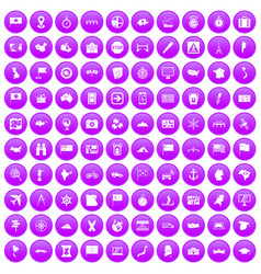 100 cartography icons set purple vector