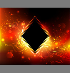 black rhombus on a fire background vector image vector image