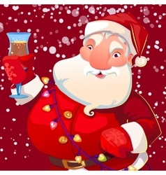 cute Santa with wineglass vector image vector image