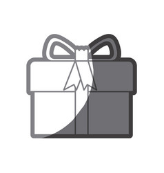 grayscale silhouette of gift box with decorative vector image vector image