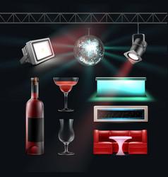 night club set vector image vector image