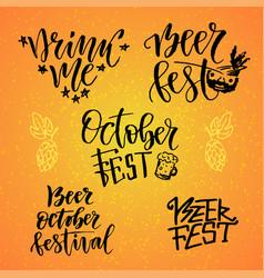 october fest calligraphic set beer fest drink me vector image