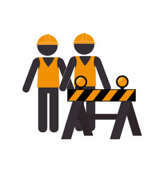 silhouette road construction and workers group vector image