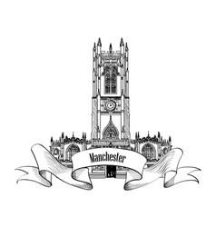 travel england sign manchester city landmark uk vector image vector image