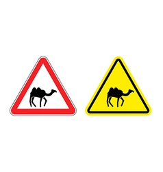 Warning sign attention camel Hazard yellow sign vector image vector image