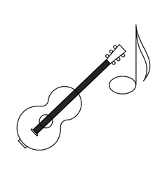 Acoustic guitar and note icon outline style vector image