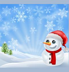 Christmas snowman in snowy scene vector