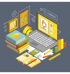 Concept for Online Education Flat 3d vector image vector image