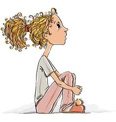Cute little girl sitting on a floor vector image