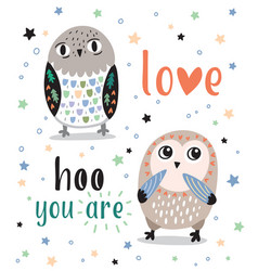 cute romantic card with cartoon owls love hoo you vector image
