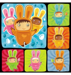 Easter bunnies vector image vector image