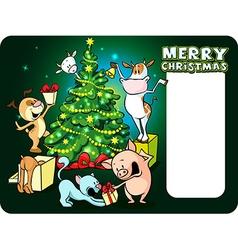 Farm animals celebrate christmas under the tree - vector