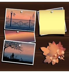 Photos on the wood wall vector image