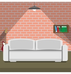Sofa on the brick wall background loft style vector image vector image