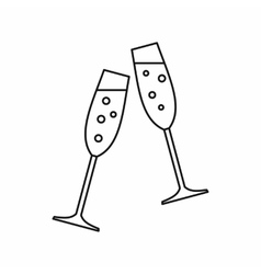 Sparkling champagne glasses icon outline style vector image