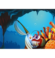 A cave under the sea vector image vector image