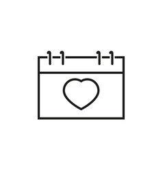 calendar with heart icons vector image vector image