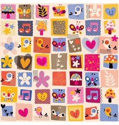 cute flowers birds hearts pattern 3 vector image vector image