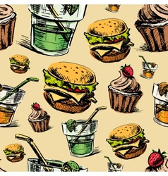 Fast food colorful seamless pattern vector image