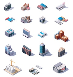 Isometric factory and office buildings set vector image vector image