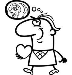 man with his valentine cartoon vector image