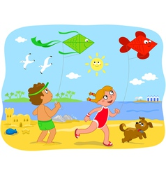 Boy and girl playing with kites at the beach vector image vector image