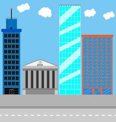 Business district set vector image