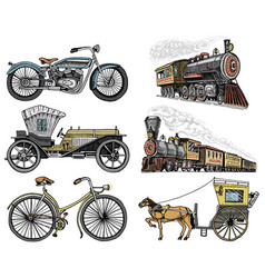 car motorbike horse-drawn carriage locomotive vector image vector image
