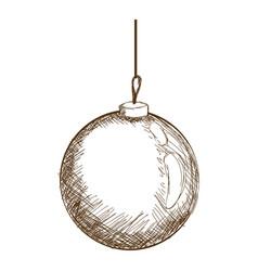 christmas ball hanging decoration engraving design vector image