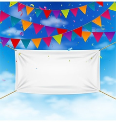 Colorful bunting flags with textile banner vector image