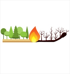 Fire in the forest vector image vector image