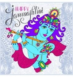 god lord Krishna with hand lettering inscription vector image vector image