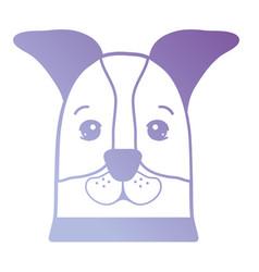 line cute dog head pet vector image