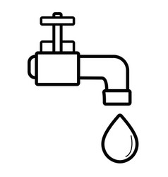 Line faucet with drop of water to ecology vector