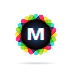 Retro bright colors logotype letter m vector