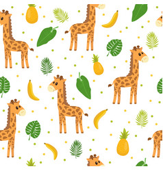 seamless pattern with cute cartoon little giraffe vector image vector image