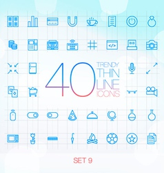 40 Trendy Thin Icons for web and mobile Set 9 vector image