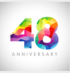 48 anniversary colorful facet logo vector