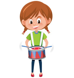 a girl playing drum vector image