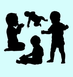 baby activity silhouette vector image
