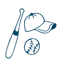 baseball bat hat and ball icon in doodle style vector image