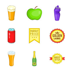 beverage icons set cartoon style vector image