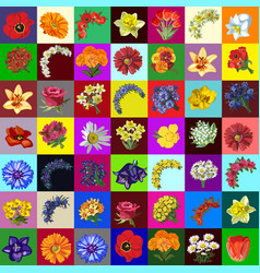 big group set flowers and bouquets garden vector image