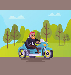 biker riding road man wearing helmet on motorcycle vector image