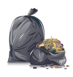 Black garbage bags with waste isolated vector
